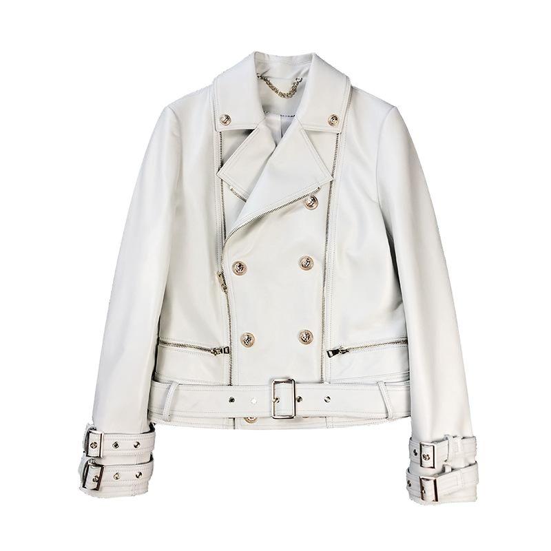 Genuine Sheepskin Leather Short Jackets Coat Womens Autumn Black White Khaki Biker Coat Moto Zipper Ladies Streetwear Outerwear
