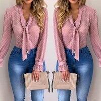 women new fashion elegant chiffon blouses long sleeve v neck shirt office blouse slim casual female polka dot top