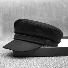 Chapeaux militaires en feutre pour femmes   Petits chapeaux de femmes 56cm 56-58cm 59cm 61cm, grands os grande taille, chapeaux de la marine en laine noire pour adultes