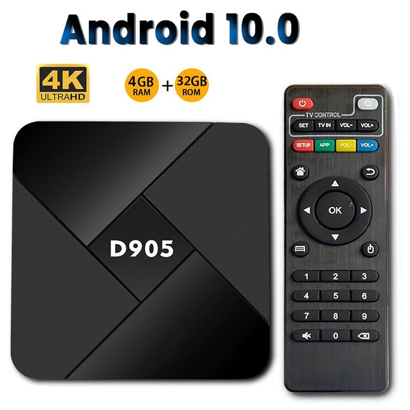 D905 4GB 32GB Android 10.0 Smart TV Box Amlogic S905X Amlogic ARM Cortex-A53 Quad Core Wifi H.265 4K