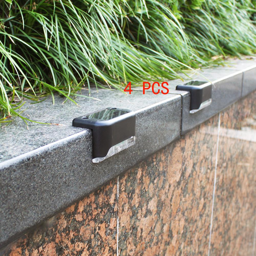 4pcs LED Solar Stair Lamp IP65 Waterproof Outdoor Garden Pathway Yard Patio Stairs Steps Fence Lamps