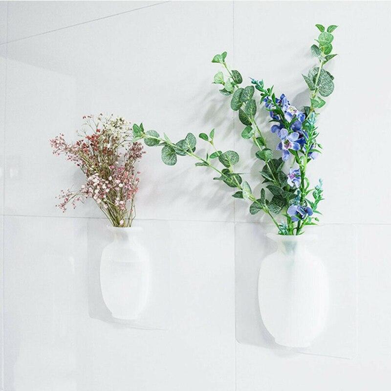1 Uds DIY Nano Magic de goma de silicona pegajosa jarrón para colgar en la pared contenedor Floret botella florero decoración del hogar floreros