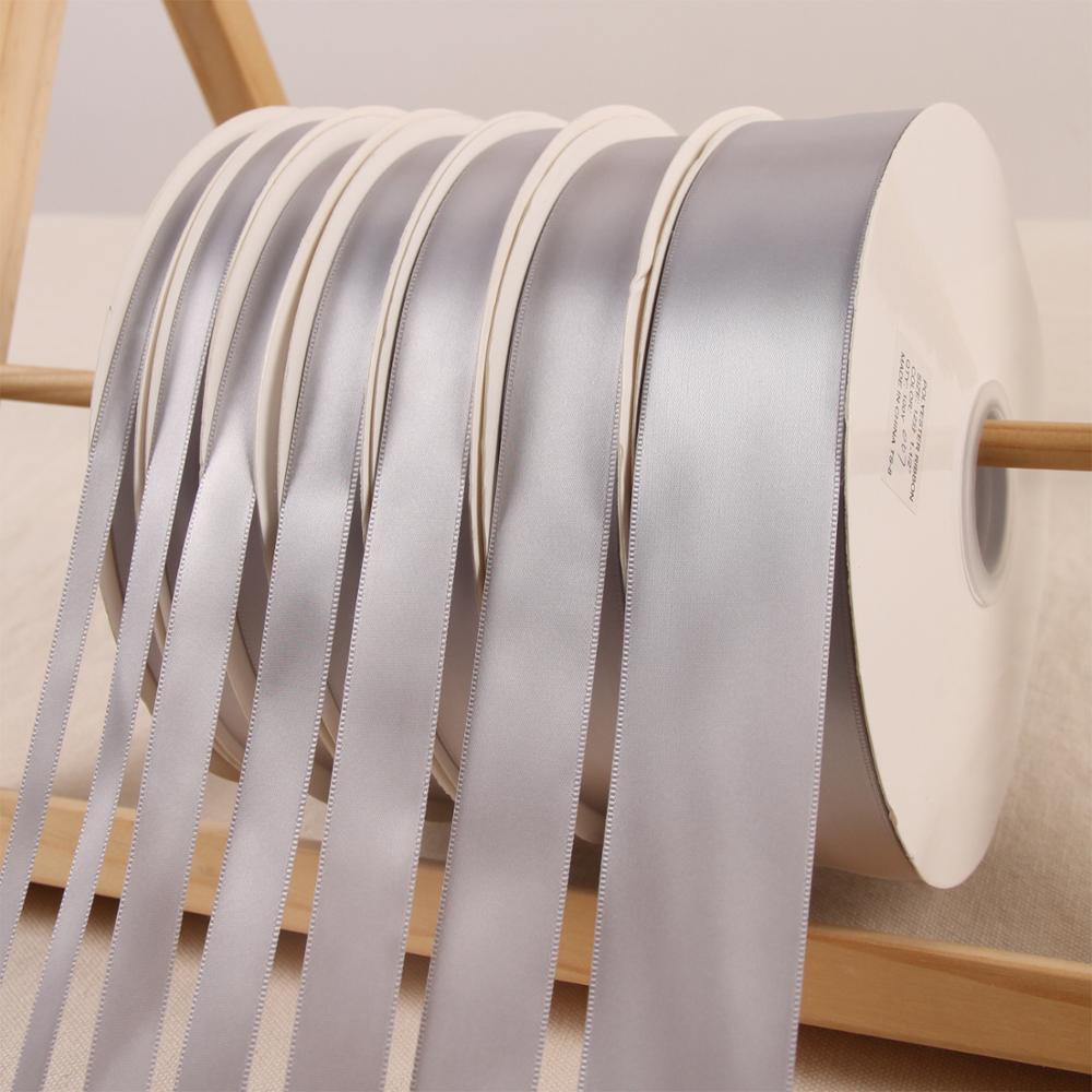 Light Grey 100Yard/roll Silk Ribbon Polyester Satin Fabric Ribbon Wedding Christmas New Year Sewing Fabric Hair Bow DIY Material