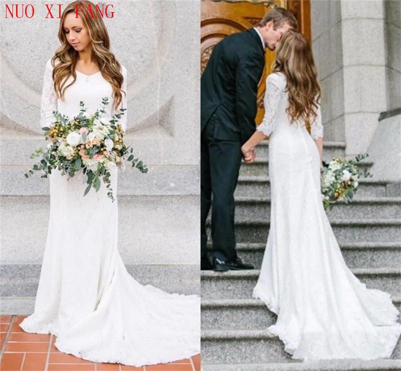 2020 Vestidos De Novia White Lace Simple Long Sleeves Wedding Dresses Plus Size Bridal Dress Floor Length Beach Wedding Gowns