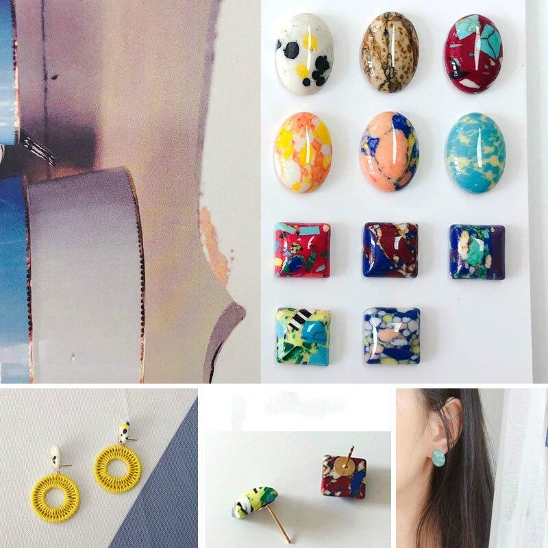 DIY Fan Art Color Pop estilo turquesa pendientes materiales cuadrados ovalados er shi pin accesorios 6 piezas