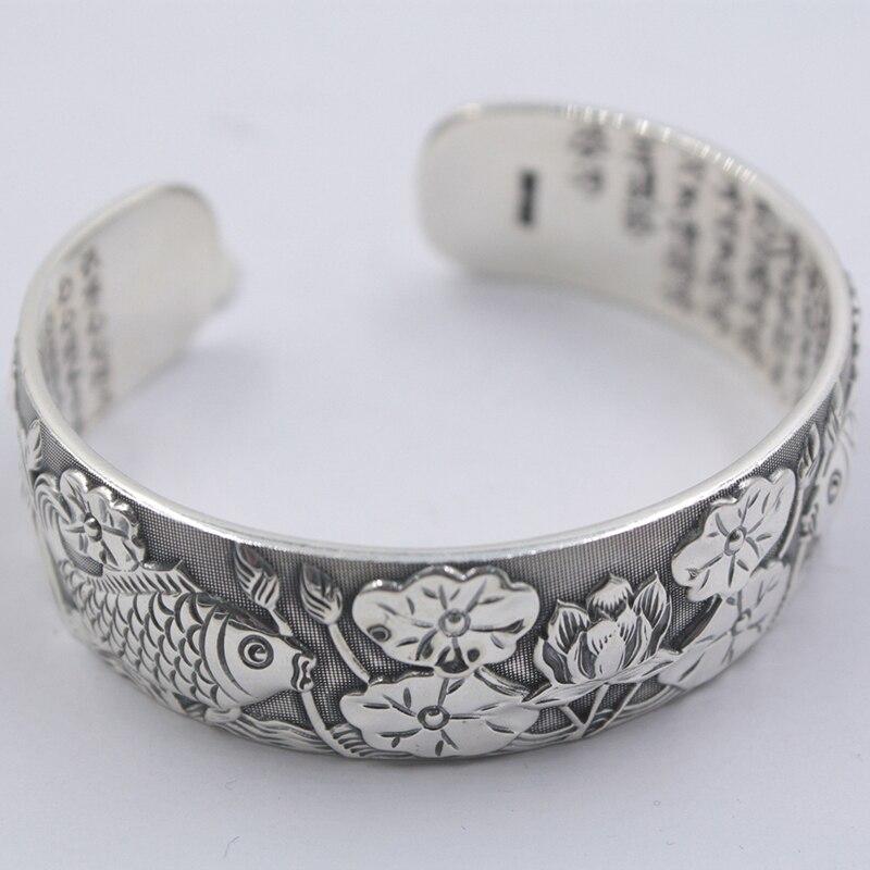 S999 Bracelet en argent fin femmes chance poisson Lotus feuille Bracelet taille ouverte 88.9g meilleur cadeau