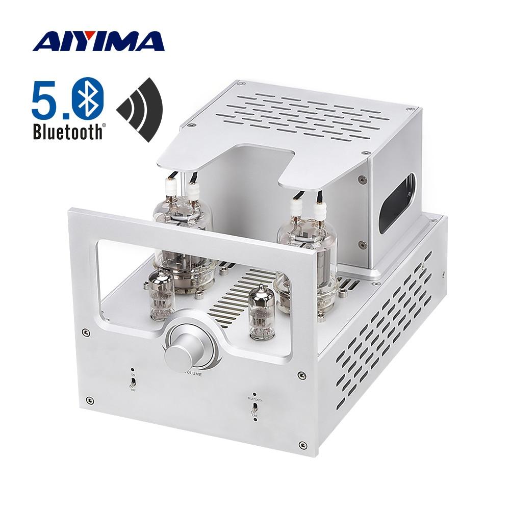 Aiyima amplificador bluetooth 5.0 tubo amplificador de áudio 6n2 fu29 40wx2 amplificador estéreo amplificador de alto-falante potência diy