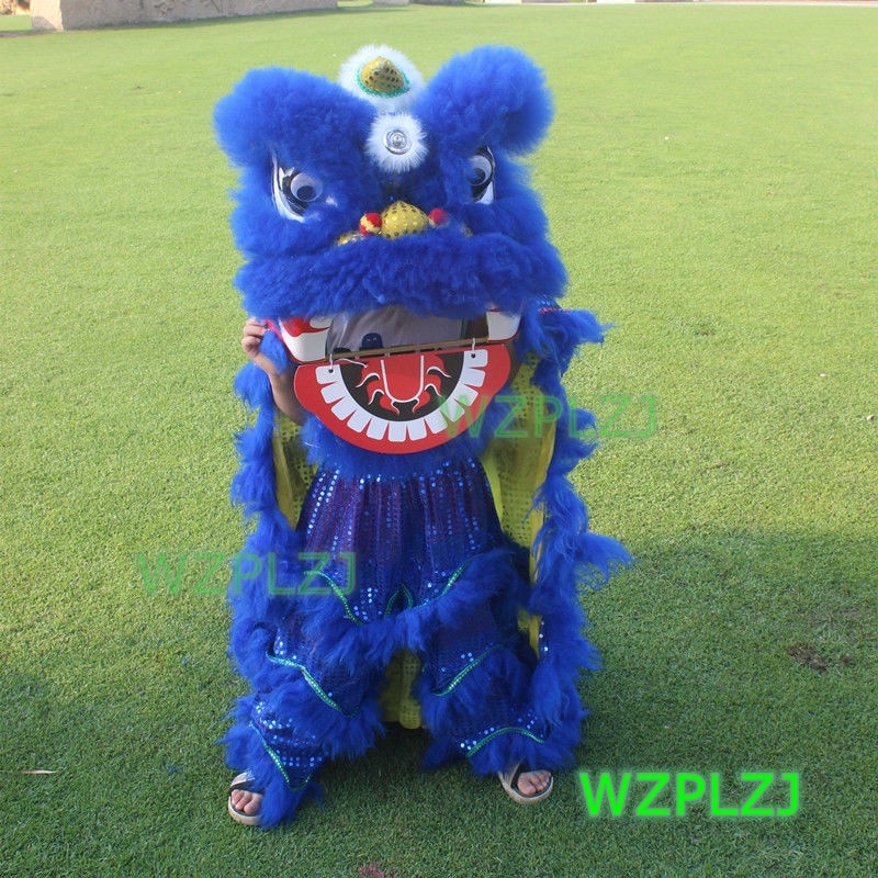 Blue 12inch Lion Dance Costume Royal  2-5 Age kid Children Props Stage Halloween  Outdoor Party Activities  Festival Parade