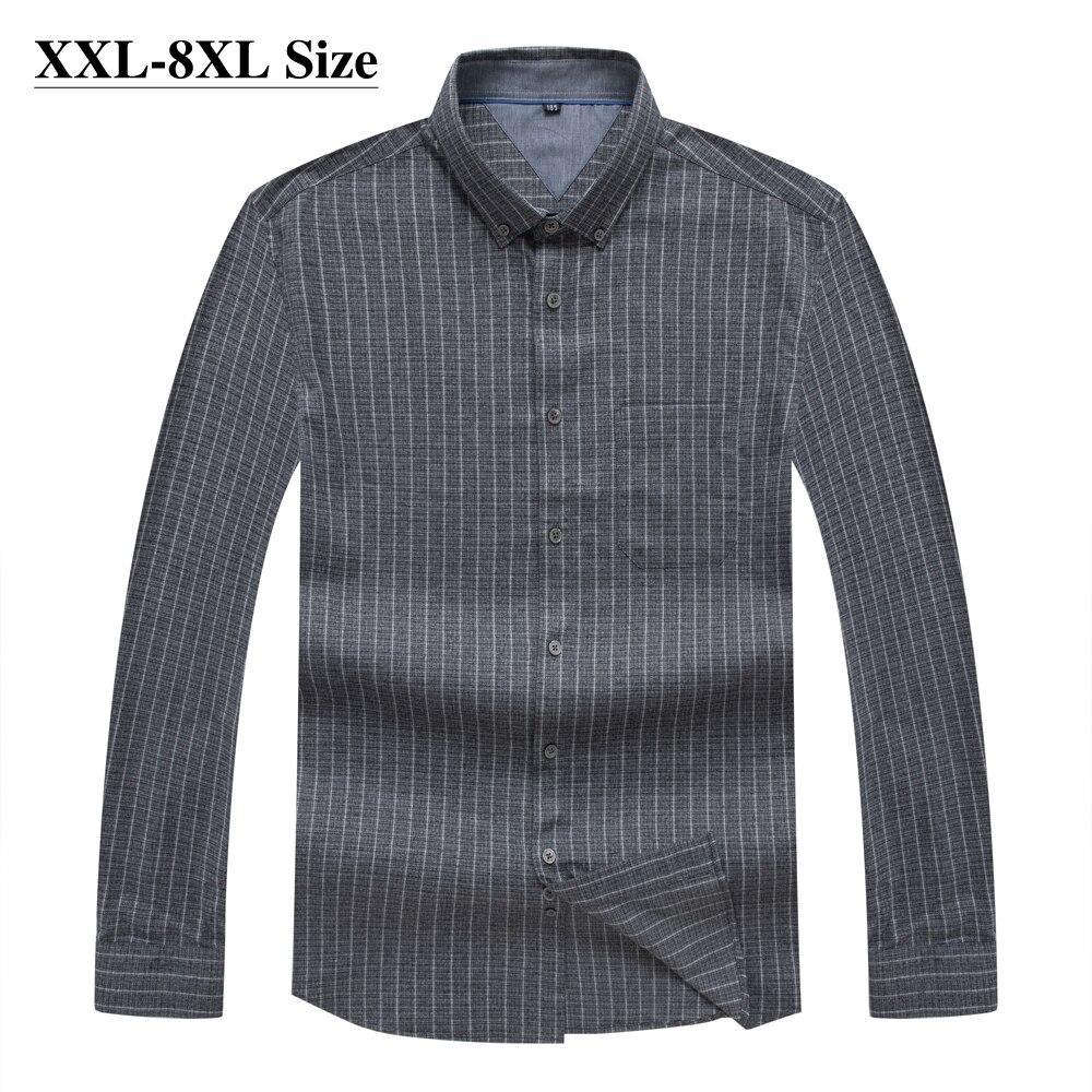 قميص رجالي بأكمام طويلة ، 100% قطن ، مخطط ، كلاسيكي ، مقاس كبير 5XL 6XL 7XL 8XL