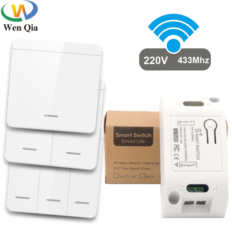 433Mhz Smart Light Switch LED Push Button Switch Universal Wireless Remote Control AC90~250V 10A 1CH