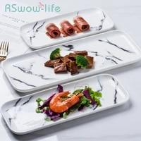 marbled ceramic tableware rectangular plate home dining plate restaurant hotel dessert ceramic plate serving platter for home