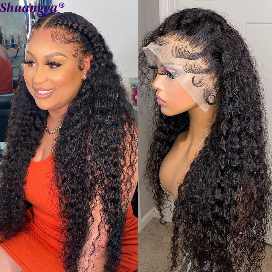 Transparent Lace Front Wig 30 Inches Brazilian Water Wave Lace Wig Remy Human Hair HD 5X5 Lace Closure Wig Curly Human Hair Wigs