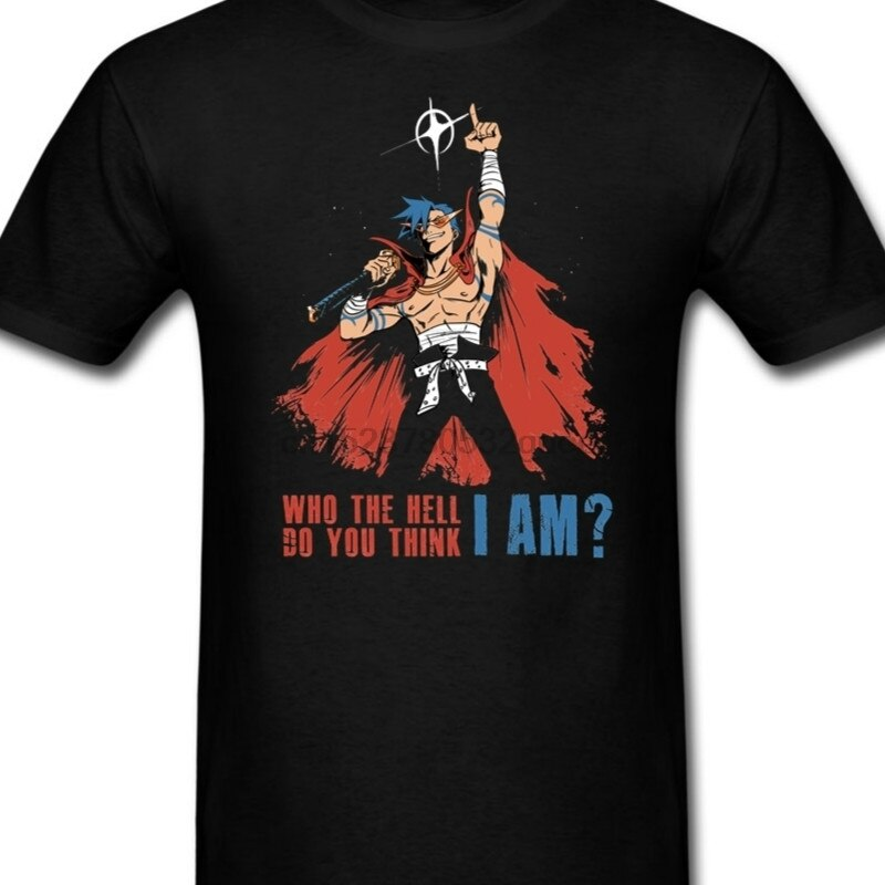 Gurren Lagann Kamina T Camiseta para los hombres de cuello redondo de manga corta T camisa 100% algodón impreso hombres camisetas XXL tamaño grande