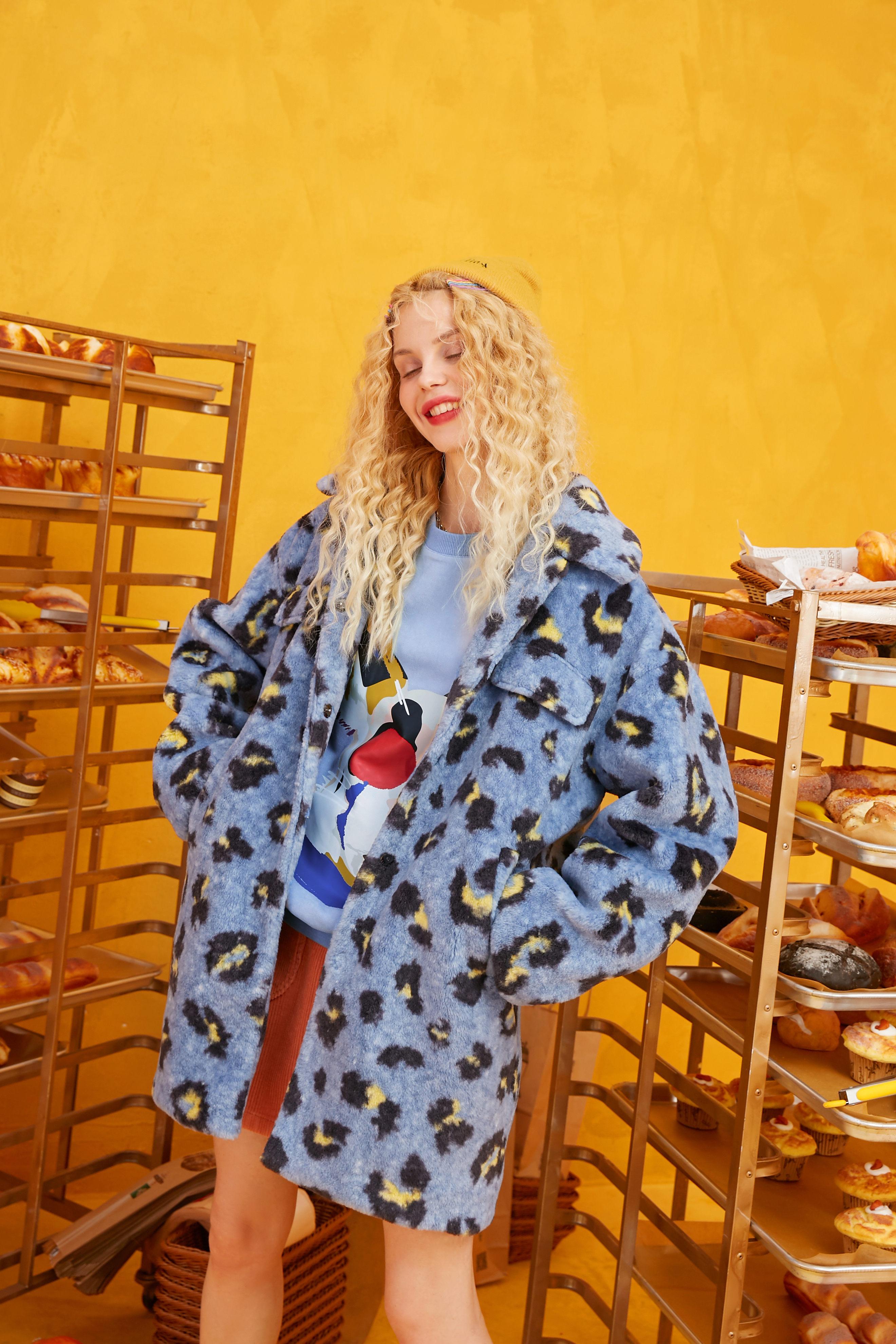 ELFSACK leopardo azul recto Casual Teddy Lazy Wool mujeres abrigos 2019 invierno solo botonadura coreana Oficina señoras cálido Outwears
