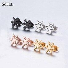 SMJEL Stainless Steel Snowflake Earings Fashion Jewelry Small Christmas Earrings Deer Winter Christm