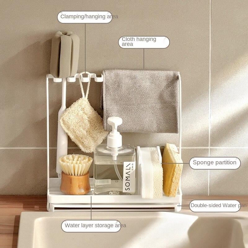 رف غسيل الأطباق رف تجفيف إسفنجي رف تخزين أدوات المطبخ المنزلية رف تخزين متعدد الأغراض رف تخزين