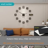 large diy wall clock 3d frameless silent non ticking black round battery operated modern wall clocks decor for living room