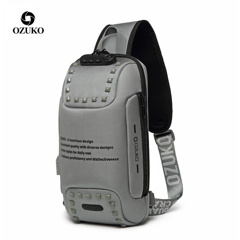 OZUKO-حقيبة كتف مقاومة للماء للرجال ، حقيبة كتف للرجال ، مقاومة للماء ، مع قفل مضاد للسرقة ، تصميم برشام أكسفورد ، مع شاحن USB ، للسفر في الهواء ال...