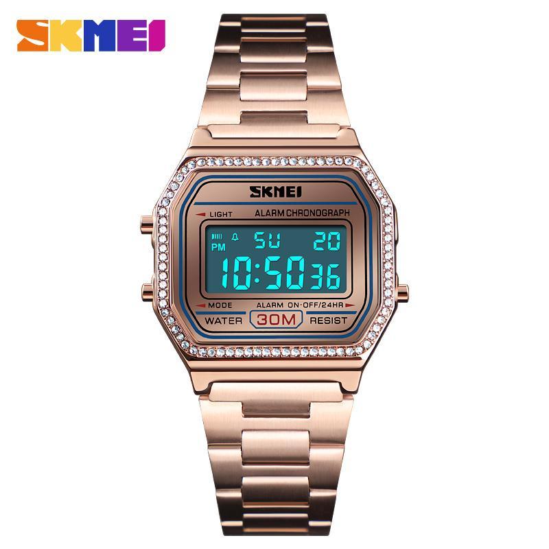 SKMEI NEW Style Fashion Women Watch 30M Waterproof Digital Watches Week Display Steel Strap Male Wristwatch Relogio Feminino enlarge