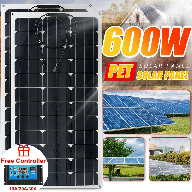 Solar Panel 600W 18V Solar Panel Power Bank Battery Charger Off Grid Power Supply System Kit Complete For Home Outdoor Camping