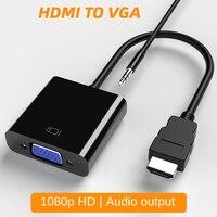 Преобразователь Hdmi в Vga переходник «Папа-мама» с аудиокабелем 1080 HD для ноутбука Xiaomi Xbox компьютера ПК ТВ Ps2 планшета дисплея