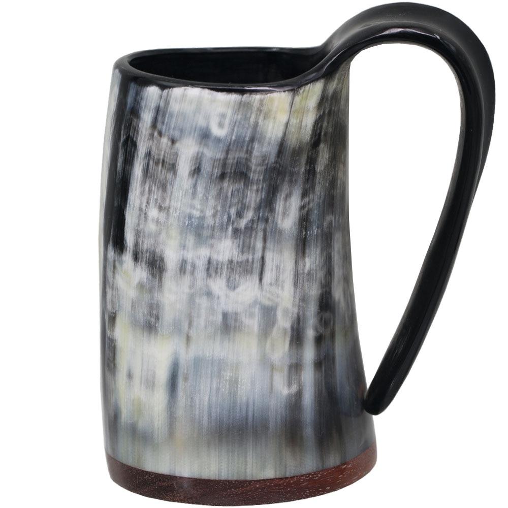 Whiskey Shot Glasses Real Horn Mug Cup Wine Glass Goblet Wine Drinking Horn Mugs Viking Drinking Mugs With Redwood Base