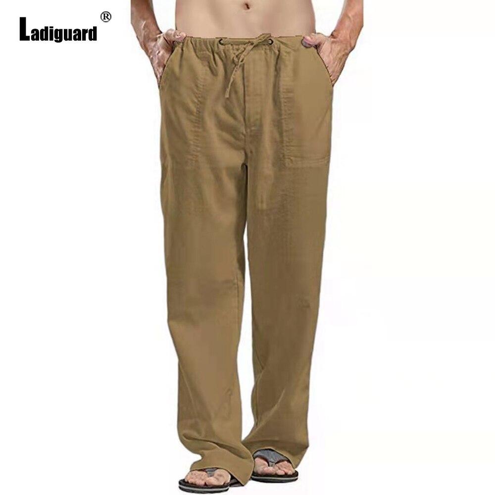 Мужские свободные брюки Samlona, цвет хаки, белый, с завязками и карманами, мужские простые тонкие спортивные брюки