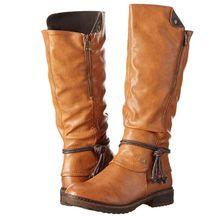2021 Autumn Winter New Women Fashion Pu Square Heel Round Head Side Zipper High Tube Boots Leisure W