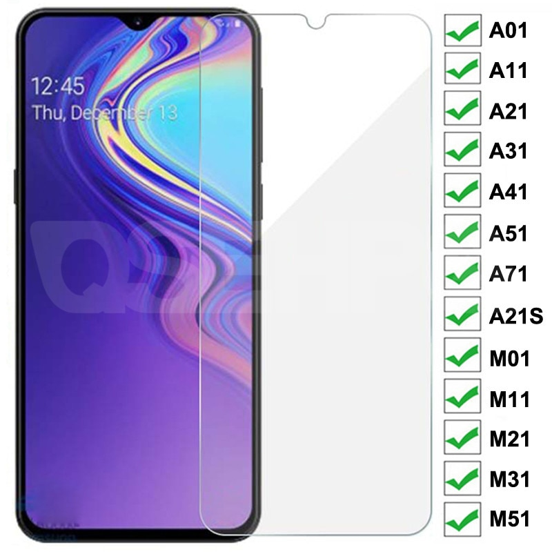 9H Tempered Glass For Samsung Galaxy A01 A11 A21 A31 A41 A51 A71 A21S Glass Screen Protector M01 M11
