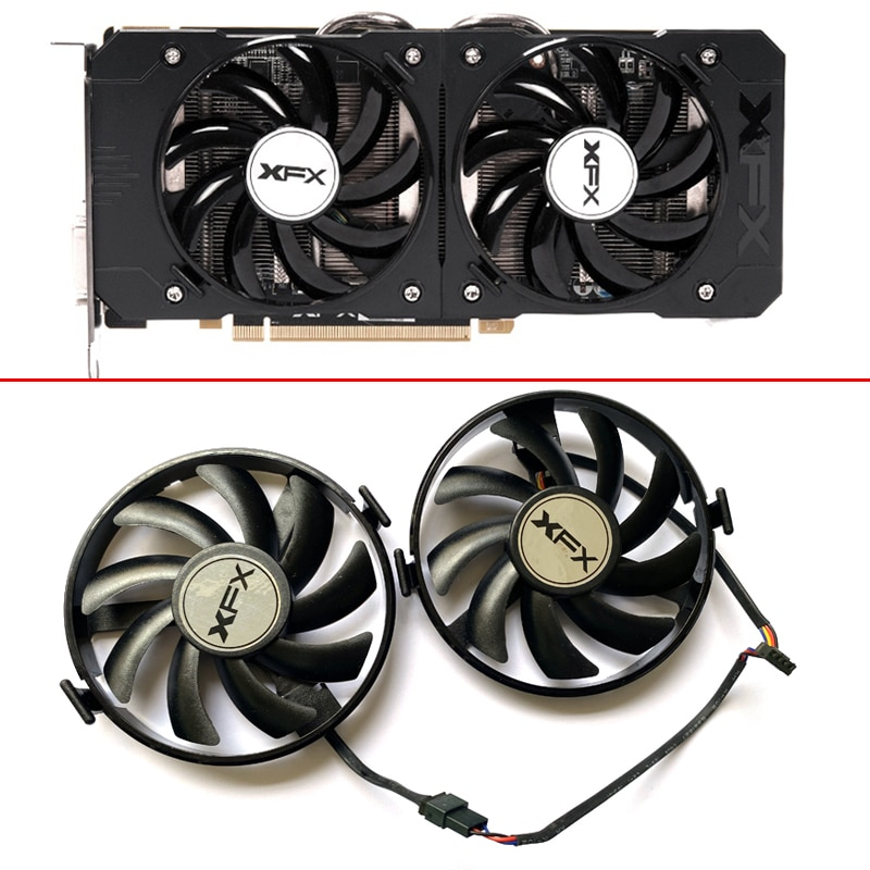2PCS FDC10U12S9-C 4PIN R9 370 4G Fan For XFX R9 380 380X R9 370 370X RX460 560 R7 350 360 370 Graphics Card Fans FY09010H12LPB