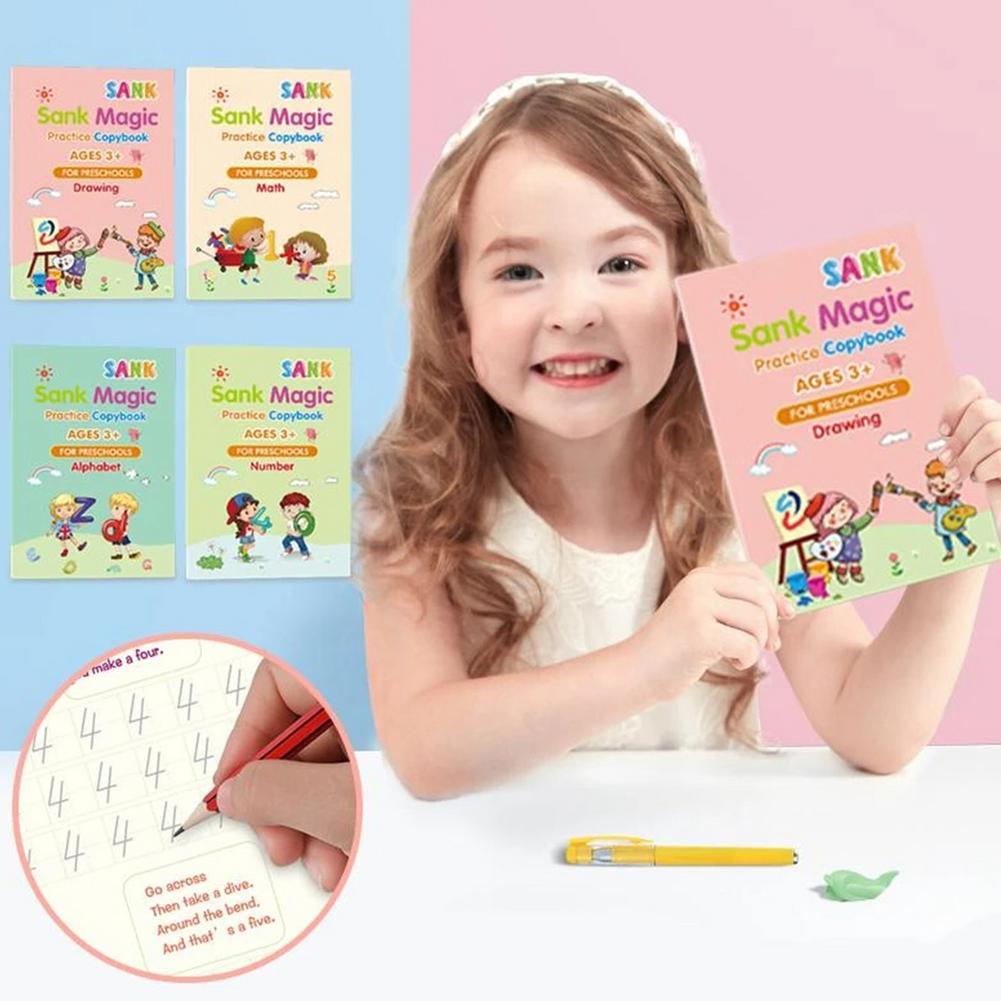 4 Books + Pen Magic Practice Copybook Free Wiping Children's Copybook Magic Magic Writing Sticker English Version