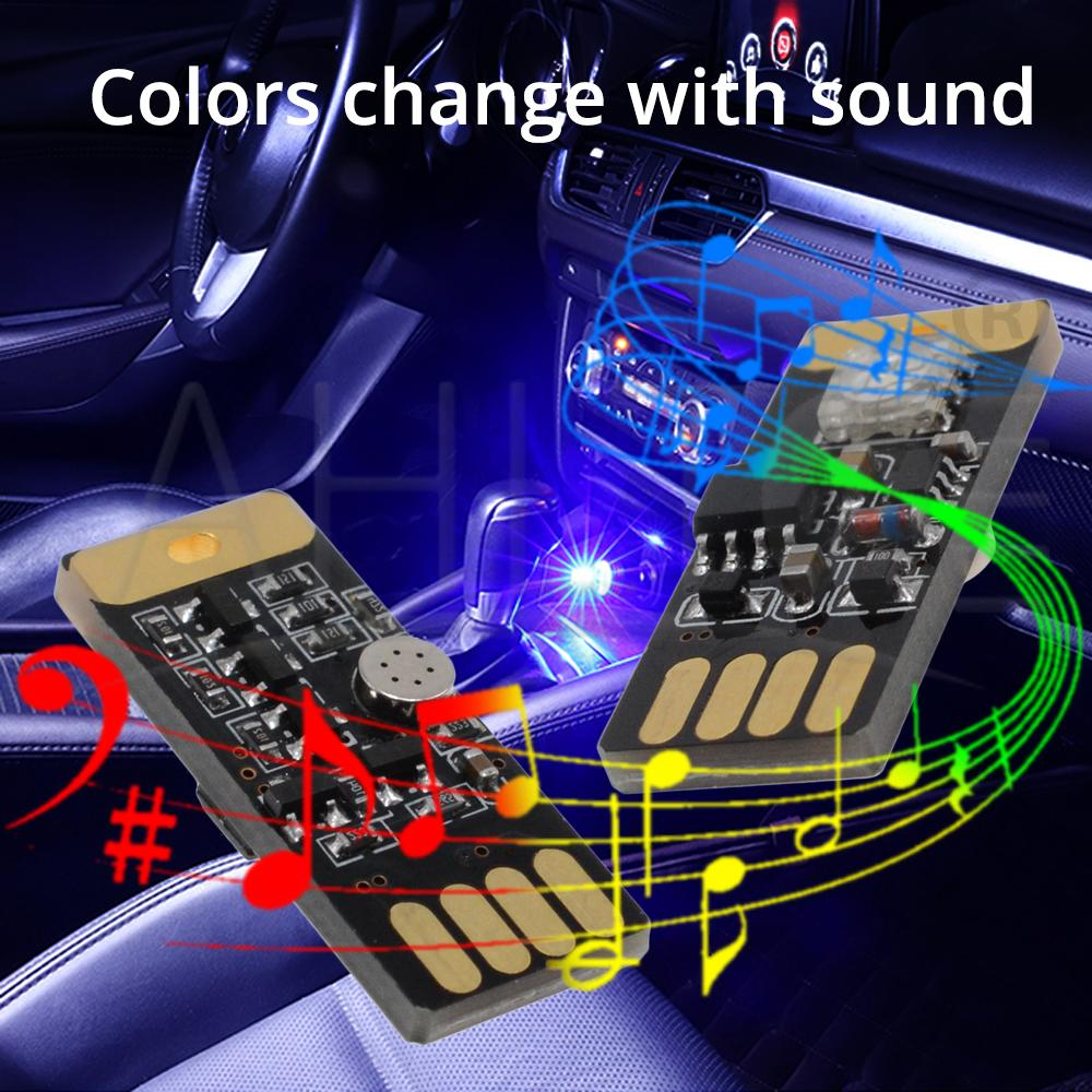 Купить с кэшбэком 1X Car USB LED DC 5V Music Playing Dimmable Light Atmosphere Decorative Lamp Lighting Portable Plug and Play RGB Voice Activated