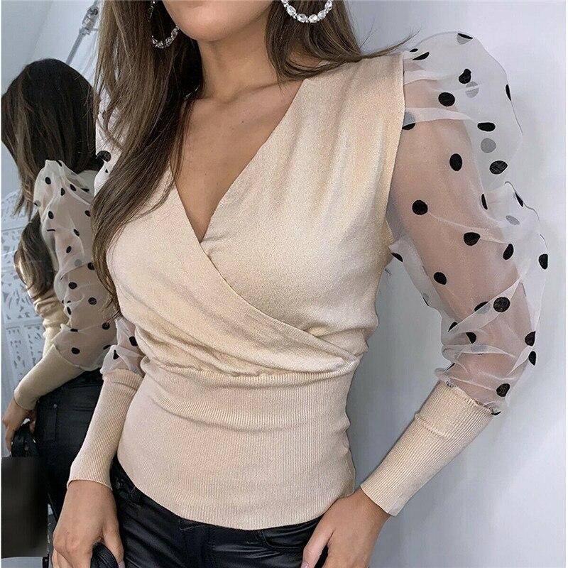 Mode Femmes Pure Maille Bouffée À Manches Blouses Chemises 2020 Femmes Élégant Mince Pois Patchwork Tricoté Wrap V-Cou Chemises