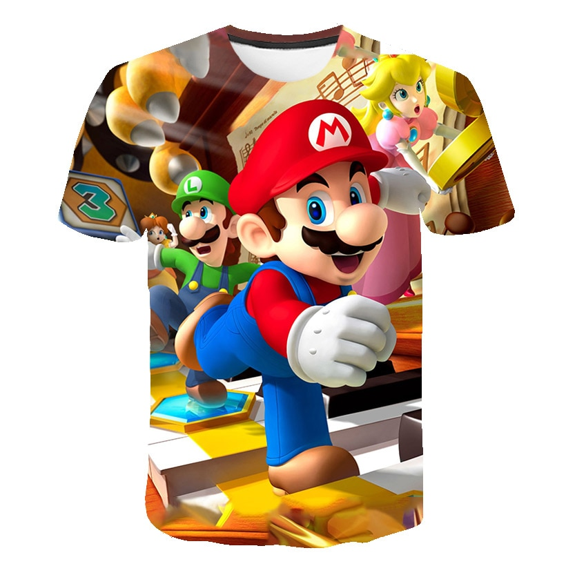 AliExpress - 4-14T Boy T Shirt SuperMario Print Clothes Girls 3D Polyester Funny T-Shirts Costume Children 2021 Summer Clothing Kids Baby Tee