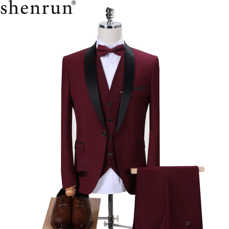 Shenrun hombres esmoquin Slim Fit traje de moda boda chal solapa 3 piezas Skinny chaqueta cruzada fiesta Prom traje de cantante