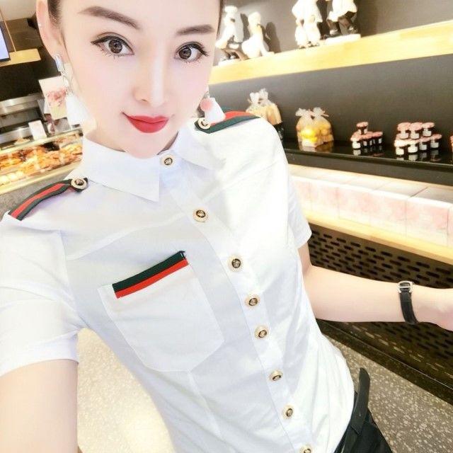 2021 spring and summer new fashion slim professional large size stretch shirt female Korean Joker short sleeve