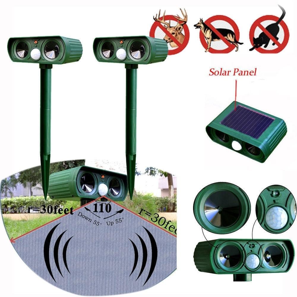 Ultrasonic Outdoor Solar Power Pest Animal Repeller Waterproof Animal Repellent Garden Cat Dog Garde