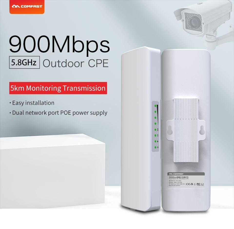 2pcs 900Mbps 5.8Ghz Outdoor Wireless AP Bridge 5KM WIFI CPE Access Point 12dBi WI-FI Antenna Nanostation CPE COMFAST CF-E313AC