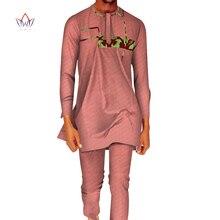 Bazin-ensemble tissu imprimé pour hommes   Tissu de 2 pièces, tissu africain décontracté, dessus Jacquard, patchwork, chemises et pantalons, WYN765