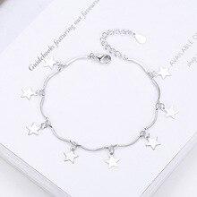 Doux et mignon cinq-Pinted étoile argent bracelet étoilé littéraire étudiant 925 Sterling pour les femmes Boho plage bracelet bijoux cadeau