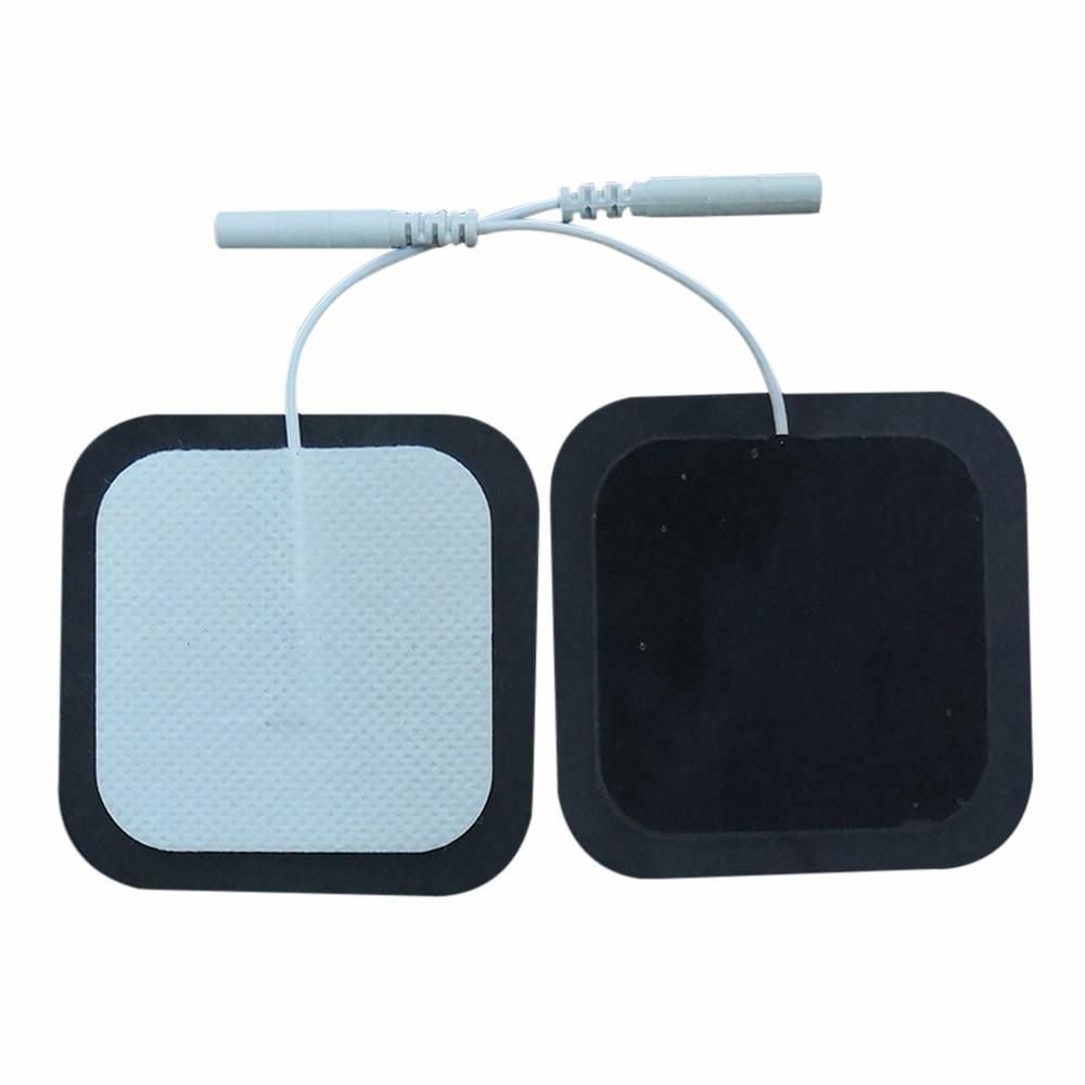 Almohadillas de electrodos de Gel de silicona reutilizables, almohadillas de electrodos de 2 clavijas de 5*5 Cm, almohadillas estimuladoras de los músculos del sistema nervioso, almohadillas autoadhesivas de Terapia Digital, 10 Uds.