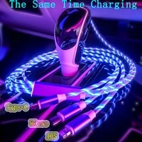 3 in 1 led charge cable micro usb typec charger cable for iphone huawei samsung xiaomi data wire usb cables phone cable