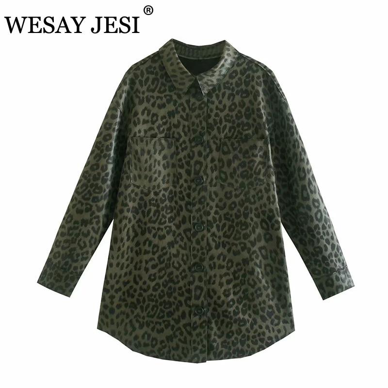 ويساي جيسي زا قميص نسائي 2021 بطبعة الفهد قميص واحد الصدر طويل الاكمام ملابس الشارع قميص عتيق كبير الحجم ذو جيب عتيق