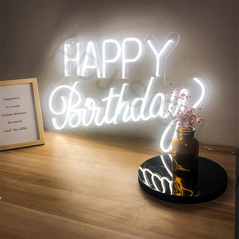 شخصية مصابيح إضاءة ليد مخصصة النيون تسجيل ضوء عيد ميلاد سعيد الفني البصري مناسبة لشريط المنزل حفلة ديكور للتعليق على الحائط