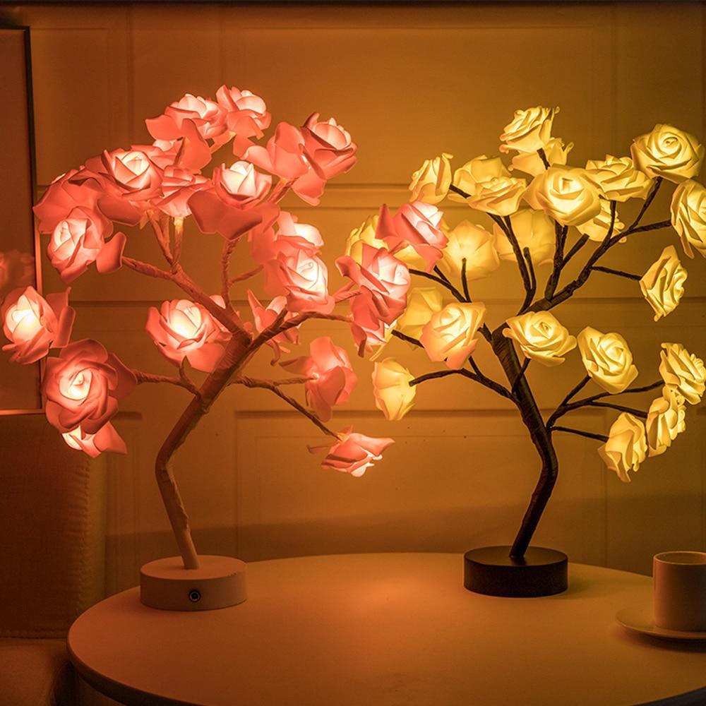Rose Flower Tree Light LED USB Simulation Floral Table Lamps Night Light For Home Bedroom Wedding Party Desktop Decor Lights