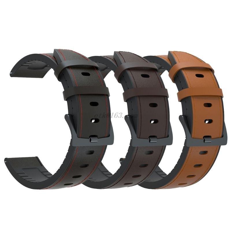 Pulseira de Relógio de Couro de Silicone para Sam-sung – para Hua-wei Pulseira Gear Vergt – Gt2 Amaz-fit Gtr 47mm 22mm s3