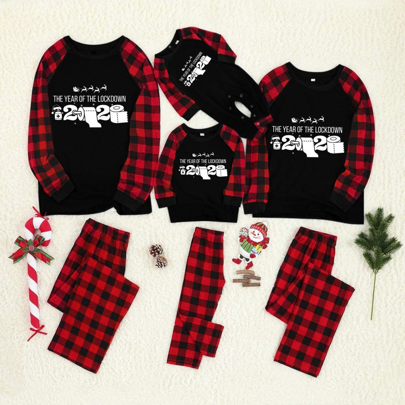 La familia pijamas de navidad carta impreso blusa Tops y pantalones de...