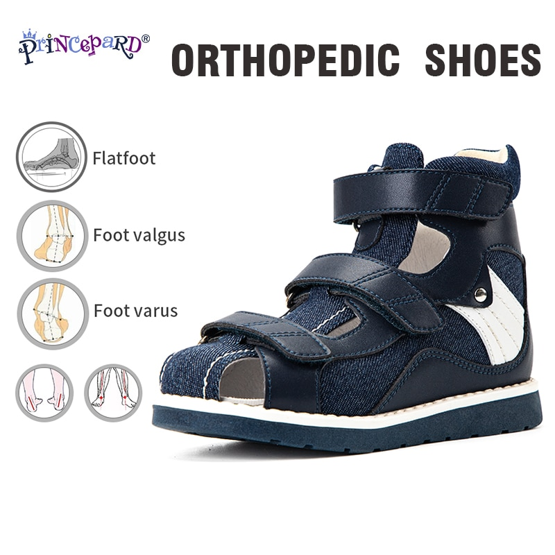 Princepard Denim Summer Breathable Closed Toe Sandals Children Orthopedic Shoes with High Back for C