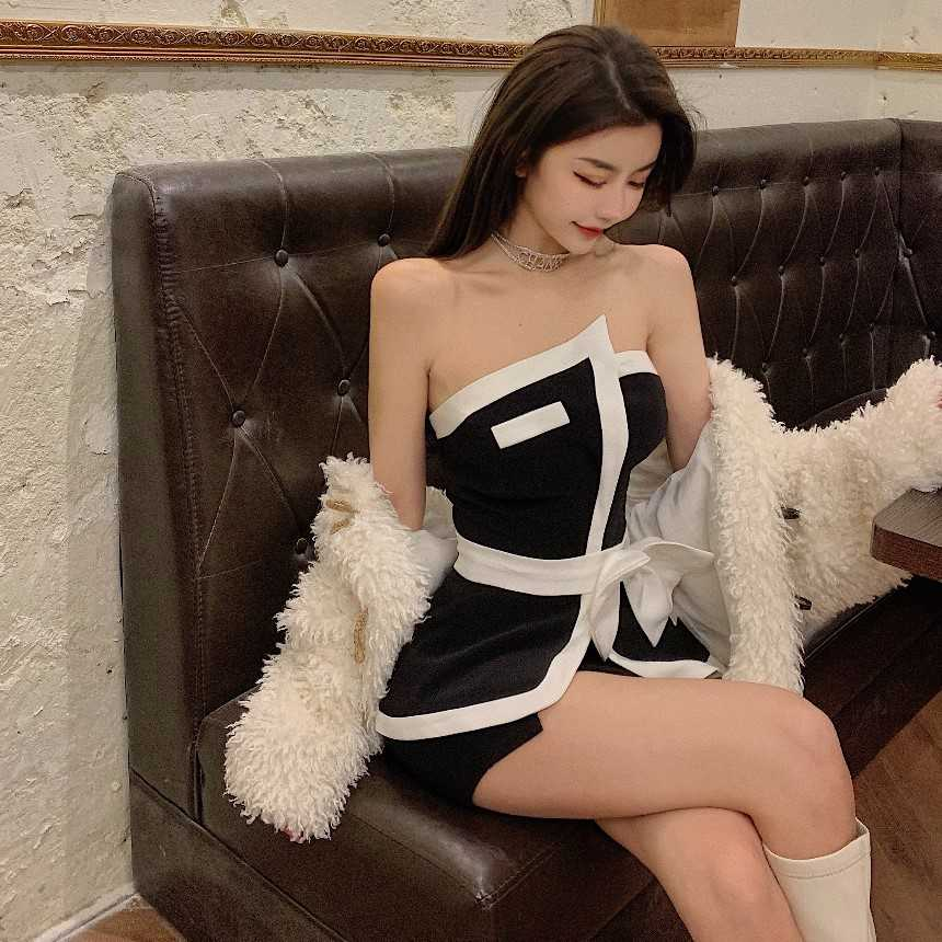 Popular Bow Asymmetric Personality Tube Top Short Vest Summer Outerwear Women's Graceful and Mature