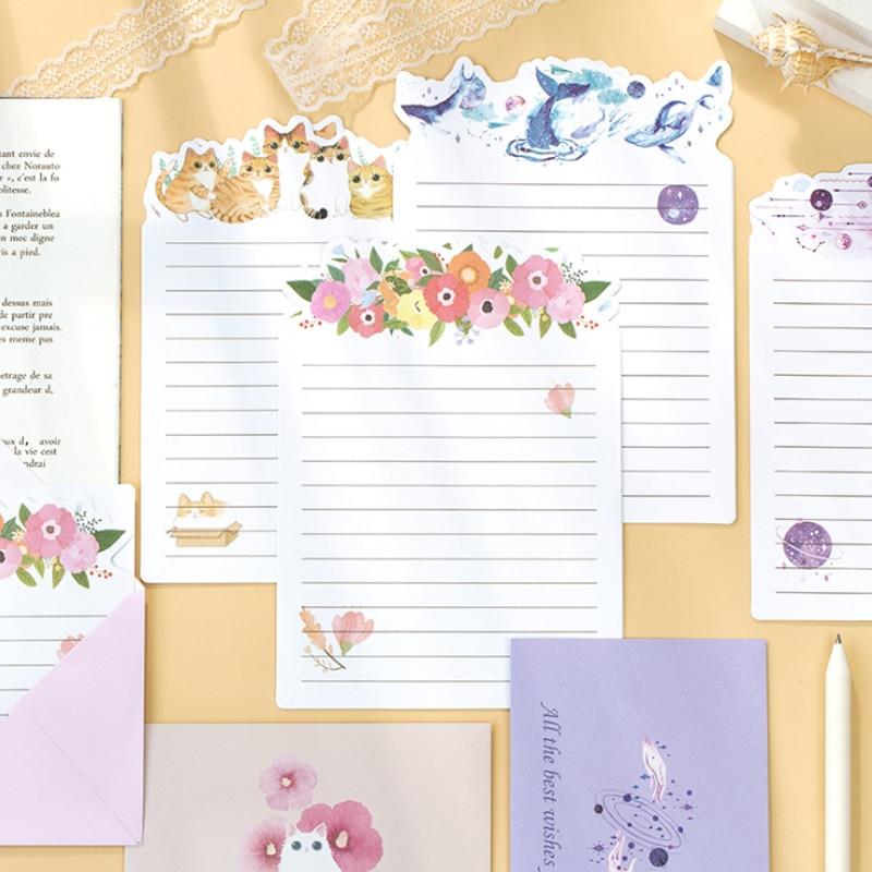 3 конверта + 6 бумажных букв, милые цветочные планеты, Кит, серия, креативные канцелярские принадлежности, школьные и офисные принадлежности, ...